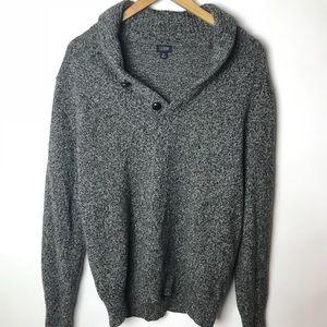 J.Crew Lambswool Gray Sweater Shawl Collar Sz Med